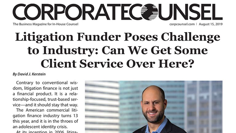 Corporate Counsel Headline: Litigation Funder Challenges the Industry.